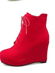 Черный / Красный-Женский-Для праздника / На каждый день-Мех-На платформе-На платформе-Ботинки