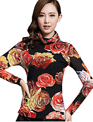 Spring/Fall Women's Casual/Daily Tops Turtleneck Long Sleeve Fashion Floral Printing Gauze Blouse Shirt