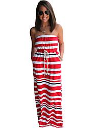 Women's Nautical Stripe Print Strapless Maxi Dress