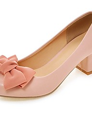 Women's Shoes PU Summer / Round Toe Heels Office & Career / Casual Chunky Heel Bowknot Black / Pink / Beige
