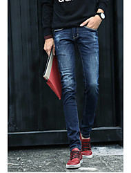 Men's Solid Casual Suits,Cotton Blue