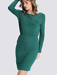 Women's Formal Simple Bodycon Dress,Solid Round Neck Above Knee Long Sleeve Red / Purple Polyester Fall / Winter