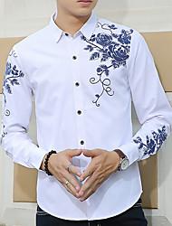 Men's Casual/Daily Fall Shirt,Print Long Sleeve Cotton