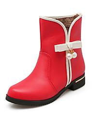Feminino-Botas-Botas Cano Curto / Arrendondado / Botas Montaria / Botas da Moda / Conforto / Coturno-Salto Baixo-Preto / Vermelho-Couro