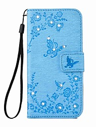 Pour Coque iPhone 6 Coques iPhone 6 Plus Portefeuille Porte Carte Strass Avec Support Coque Coque Intégrale Coque Papillon Dur Cuir PU