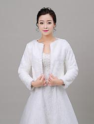 Women's Wrap Shrugs Long Sleeve Faux Fur Ivory Wedding Scoop 34cm Pattern Open Front