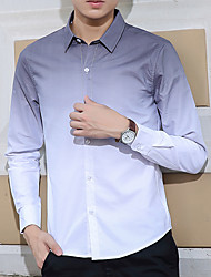 Men's Solid Casual Shirt,Cotton Long Sleeve Blue / Green / Gray
