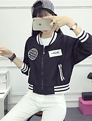 Women's Going out / Casual/ Fall Leather Jackets,Patchwork Stand Long Sleeve White / Black Polyester Medium