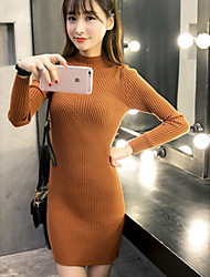 Women's Going out Simple Bodycon Dress,Solid Crew Neck Above Knee Long Sleeve Black / Brown / Gray Rabbit Fur Fall