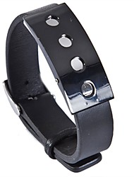 Fashion Men's Charm Round hole 316L Stainless Steel Leather Bracelets