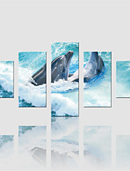 JAMMORY Canvas Set Landscape Modern,Five Panels Gallery Wrapped, Ready To Hang Vertical Print No Frame Dolphin