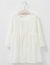 Girl's Cotton Spring/Autumn Cute Solid White Embroidery Long Sleeve Princess Party Dress