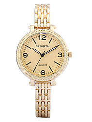 REBIRTH® Women's Watch Simple Fashion Alloy Gold Black Strap Quartz Wrist Watch