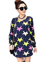 Tee-shirt Aux femmes,Galaxie Décontracté / Quotidien Chic de Rue Automne Manches Longues Col Arrondi Jaune Cachemire Moyen