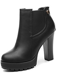 Women's Shoes Leatherette Winter Heels Heels Wedding / Office & Career / Dress Chunky Heel Others Black / Burgundy