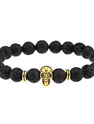 Vintage Fashion Accessories Lava Stone Black Agate Beads Skull Charm Bracelets Men Women Jewelry