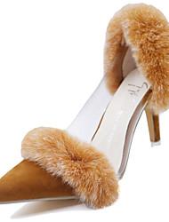 Damen-High Heels-Kleid-Kunststoff Pelz-StöckelabsatzSchwarz Braun Rot