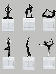 AYA™ Set of 6 DIY Creative Yoga Switch Stickers Wall Decor