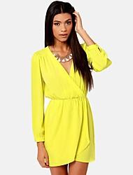YINQIAN®Women's V Neck Chiffon Dress (More Colors)