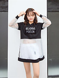 Women's Casual/Daily Simple Summer Set,Letter Hooded Long Sleeve White / Black Polyester Medium