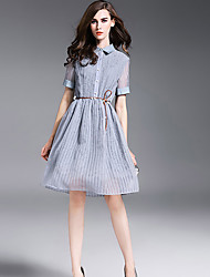 Women's Going out Simple Dress,Solid Shirt Collar Knee-length ½ Length Sleeve White / Gray Acrylic / Polyester Summer