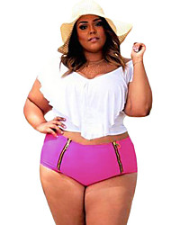 Women's Plus Size White Ruffled Overlay Crop Rosy Bottom Tankini