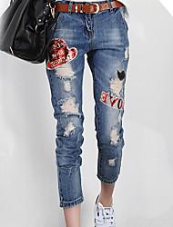 Women's Letter Blue Jeans Pants,Simple