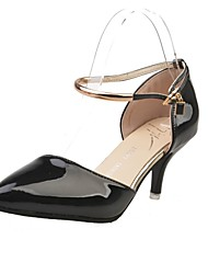 Women's Heels Summer / Fall Heels / Pointed Toe Patent Leather Dress Low Heel Buckle Black / Pink / Silver Others