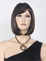 Capless Short Bob High Quality Synthetic Dark Brown Straight Hair Wig Full Bang