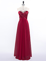 Formal Evening Dress - Elegant A-line Sweetheart Floor-length Chiffon with Beading Pleats