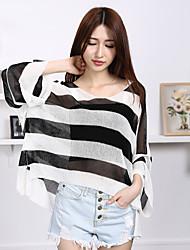 Damen Standard Pullover-Lässig/Alltäglich Einfach Gestreift Rosa / Schwarz / Grau V-Ausschnitt Langarm Kunstseide Sommer Dünn