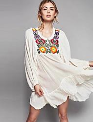 Damen Lose Kleid-Lässig/Alltäglich Einfach Stickerei Rundhalsausschnitt Übers Knie Langarm Weiß Baumwolle Sommer Mittlere Hüfthöhe