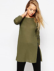 Women's Casual/Daily Simple Split Fashion Loose Spring T-shirt,Solid Round Neck Long Sleeve Green