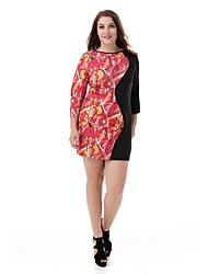Women's Plus Size Floral Dress Large Size Print Casual Club Dress Fashion Party Dress