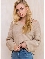 Women's Casual/Daily Street chic Long Pullover,Solid Brown V Neck Long Sleeve Polyester Fall Thin