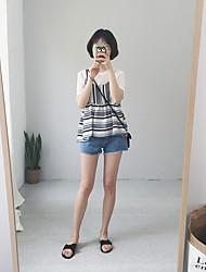 Women's Going out Cute Summer Tank Top,Striped Strap Sleeveless Blue / Black Polyester Thin