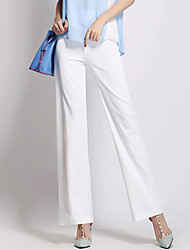 Women's Solid White / Black Wide Leg Pants,Street chic