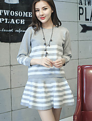 Women's Casual/Daily Simple Summer Set Skirt,Striped Round Neck Long Sleeve Blue / Black / Gray Rayon Medium