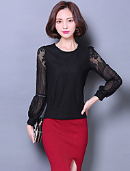 Women's Going out Cute Fall Blouse,Solid Round Neck Long Sleeve Red / Black Polyester Thin