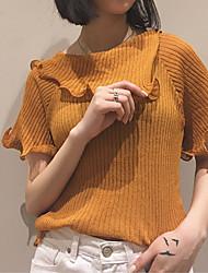 Damen Kurz Pullover-Ausgehen Lässig/Alltäglich Einfach Solide Braun Hemdkragen Kurzarm Baumwolle Sommer Mittel Dehnbar