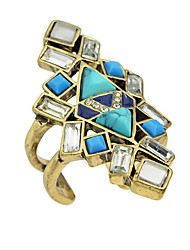 Vintage Acrylic Stone Big Statement Cuff Finger Rings