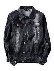 Men's Retro Decorative Buttons Single Breasted Denim Jacket,Cotton / Polyester Solid Black