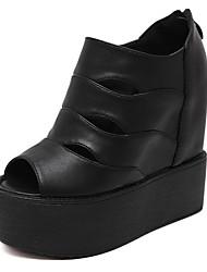 Damen-Sandalen-Lässig-PU-Keilabsatz-Vorne offener Schuh / Sandalen-Schwarz / Weiß