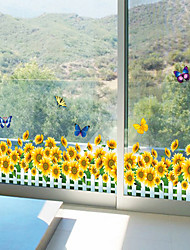 Sunflower Butterfly Skirting Line Wall Stickers Fashion DIY Living Room Glass Wall Decals