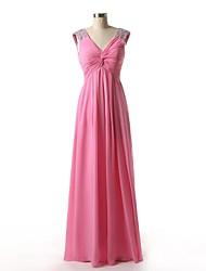 Floor-length Chiffon Bridesmaid Dress - A-line V-neck with Beading / Side Draping