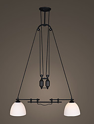 Double Heads Vintage North Amercian Style Glass Adjustable Pendant Lamp for the Indoor Room Pully Chandelier Light