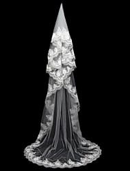 Voiles de Mariée Une couche Voiles chepelle Bord en dentelle Tulle Blanc