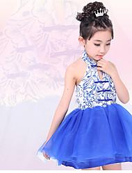 Fantasias Vestidos Crianças Actuação Poliéster Pano 1 Peça Azul Espetáculo Sem Mangas Natural Vestidos