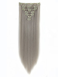 Clip in Hair Extensions 22inch 7pcs/set 100g Heat Resistance Fibre Straight Hair Clip In Synthetic Hair Extensions Gray