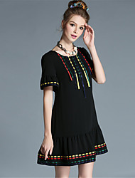 Women Plus Size Big Sister Ethnic Vintage Embroidered Pleat Ruffle Patchwork Color Block Chiffon Dress